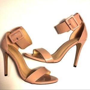 Liliana blush nude tan patent strappy heels 8